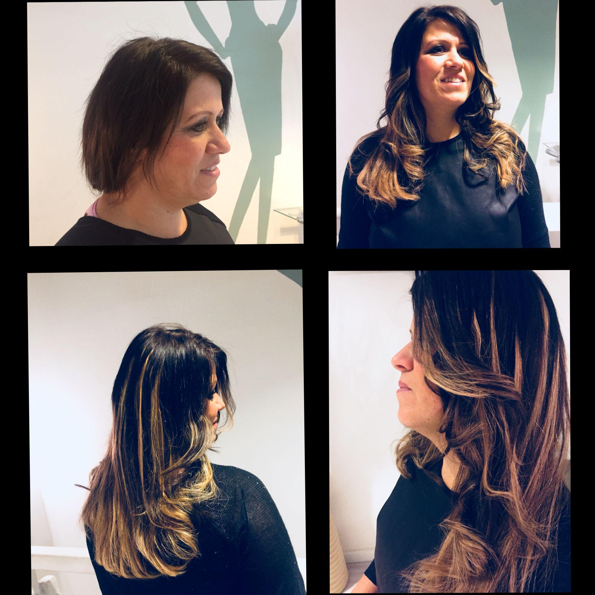 Collage Haarverlängerung braune Haare